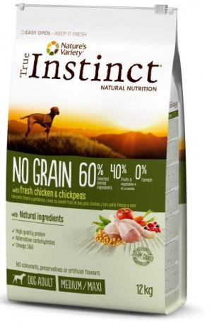 True Instinct No Grain Medium/Maxi Adult - Lielo un vidējo šķirņu suņiem (vista un zirņi) 12kg