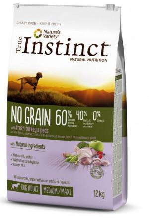 True Instinct No Grain Medium/Maxi Adult - Lielo un vidējo šķirņu suņiem (tītars un zirnīšiem) 2kg
