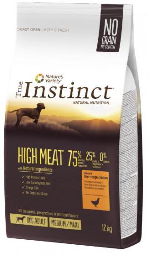 True Instinct High Meat Medium/Maxi Adult - Lielo un vidējo šķirņu suņiem (vista un dārzeņi) 12kg