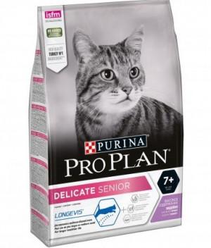 PRO PLAN Delicate (LONGEVIS) sausā barība jutīgiem veciem kaķiem ar tītaru 1.5kg