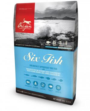 Orijen 6 Fish Dog bezgraudu sausā barība suņiem ar zivīm 11.4kg x 2gab