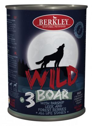 Konservi suņiem Berkley WILD ar mežacūkas gaļu un pastinaku 6 x 400g