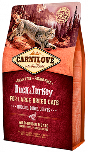 Carnilove Cat Duck & Turkey for Large Breed Cats 2 x 2kg