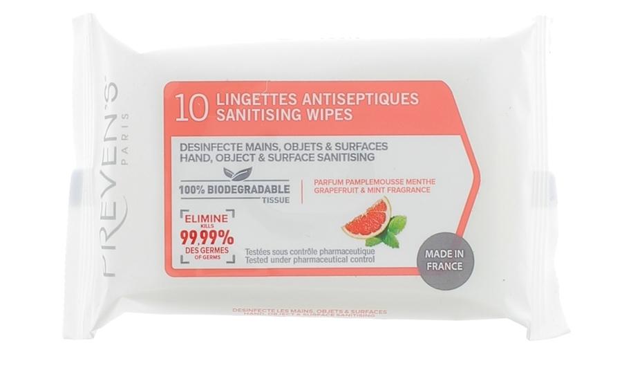 Mitrās Antibakteriālās Salvetes PREVENS Ar Greipfrūtu Aromātu, 10 Gb.