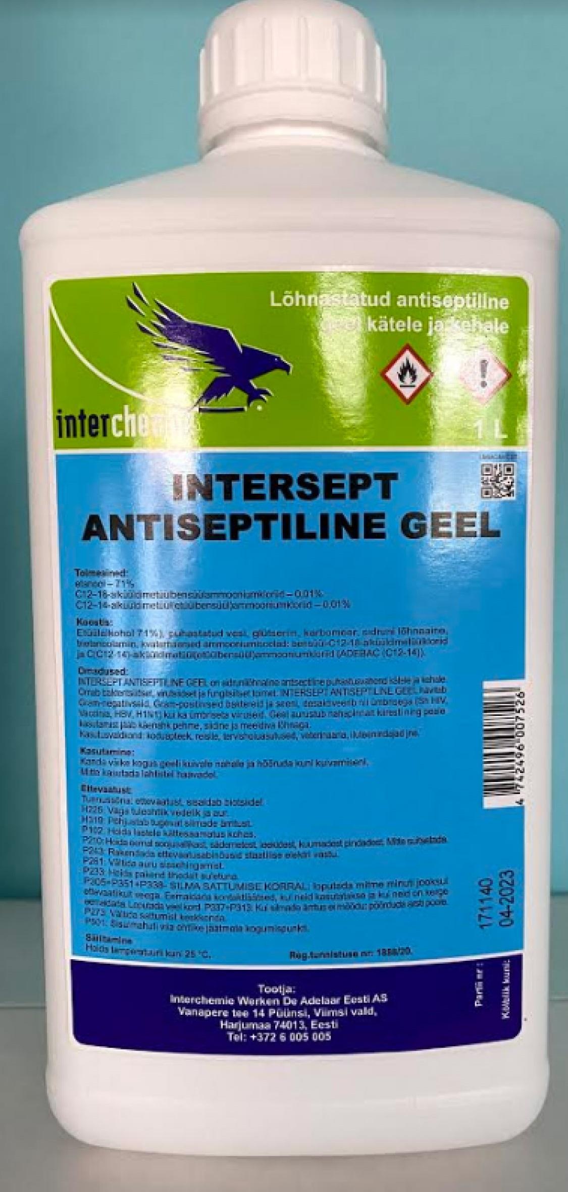 INTERSEPT ANTISEPTIC GEL 1L roku dezinfekcijas līdzeklis