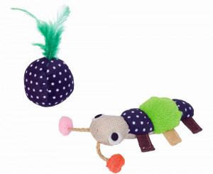 NOBBY Fabric worm with plush ball and catnip - rotaļlieta kaķiem ar kaķu mētru