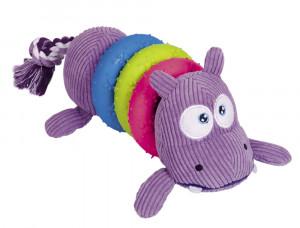 NOBBY Plush Hippo With Rubber Toy - rotaļlieta suņiem