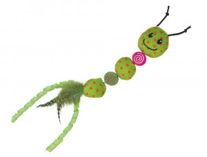 NOBBY plushworm with feathers - plīša rotaļlieta ar kaķu mētru