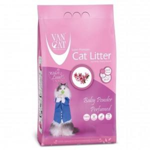 VAN CAT Compact Baby Powder - cementējošas smiltis kaķu tualetei, ar bērnu pūderi 10kg