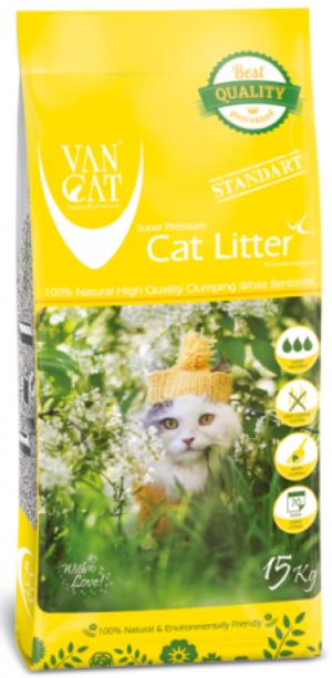 VAN CAT Standard Baby Powder - cementējošas smiltis kaķu tualetei, ar bērnu pūderi 15kg