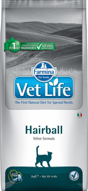 FARMINA VET LIFE Cat Hairball - sausā barība kaķiem 2 x 2kg