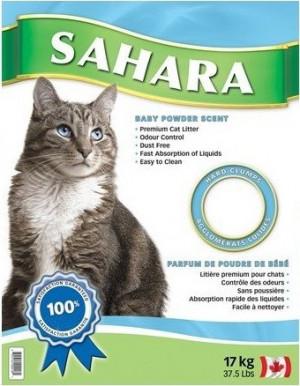 Sahara Baby Powder Cat Litter - smiltis kaķu tualetei  ar bērnu pūdera aromātu 17kg