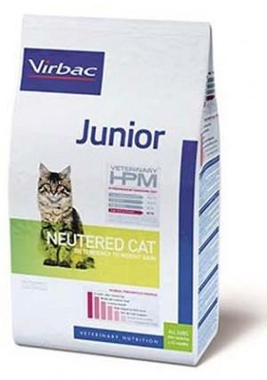 VIRBAC HPM Cat Junior Neutered - sausā barība kaķiem 3kg