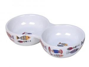 "NOBBY ""Fish"" - dubulta keramikas bļoda kaķiem, balta"