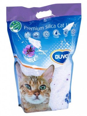 Duvo+ Silica Cat Litter Scent Lavender - smiltis kaķu tualetei, ar lavandas aromātu 5L