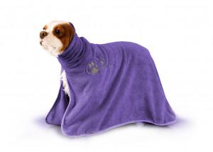 Show Tech+ Dry Dude Purple Pet Towel For Dogs And Cats M - mikrošķiedru dvielis ar izšuvumiem un kapuci ,violets