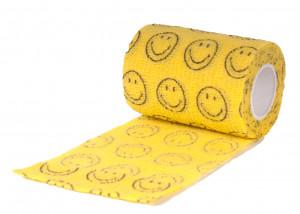 Show Tech Self-Cling Bandage Yellow with Smiley - elastīgs, pašlīmējošs pārsējs suņiem 7,5 cm x 4,5 m