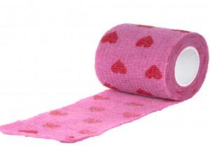 Show Tech Self-Cling Bandage Pink with Hearts - elastīgs, pašlīmējošs pārsējs suņiem 7,5 cm x 4,5 m