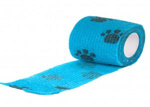 Show Tech Self-Cling Bandage Blue with Paws - elastīgs, pašlīmējošs pārsējs suņiem 7,5 cm x 4,5 m