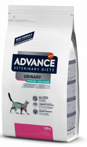 ADVANCE  VETERINARY CAT DIET URINARY STERILIZED - LOW CALORIE sausā barība kaķiem 1,25 kg