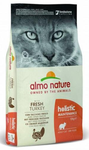 ALMO NATURE Holistic With Fresh Meat Cat Maintenance TURKEY - sausā barība kaķiem 400g