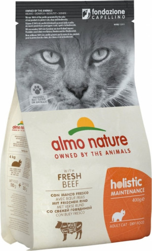 ALMO NATURE Holistic With Fresh Meat Cat Maintenance BEEF - sausā barība kaķiem 400g