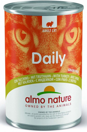ALMO NATURE Daily Cat With Turkey - konservi kaķiem 6 x 400g