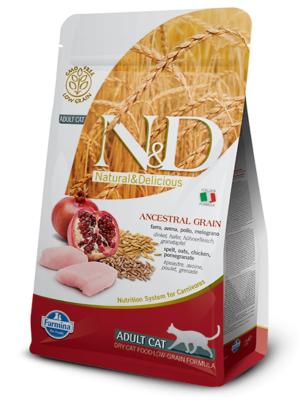 FARMINA N&D NATURAL & DELICIOUS Cat Low Grain Chicken & Pomegrante - sausā barība kaķiem 300g
