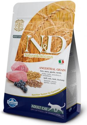 FARMINA N&D NATURAL & DELICIOUS Cat Low Grain Lamb & Blueberry - sausā barība kaķiem 1,5kg