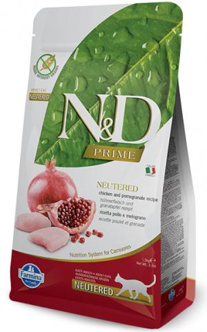 FARMINA N&D NATURAL & DELICIOUS Cat Prime Grain Free Chicken & Pomegrante Neutered  - sausā barība kaķiem 300g