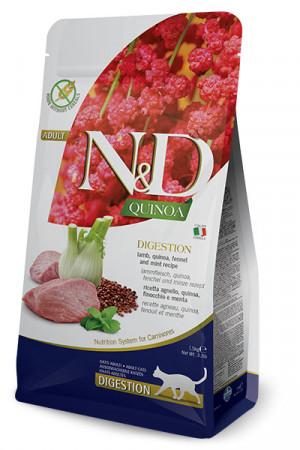 FARMINA N&D NATURAL & DELICIOUS Cat Grain Free Quinoa, Lamb & Fennel Digestion- sausā barība kaķiem 1,5kg
