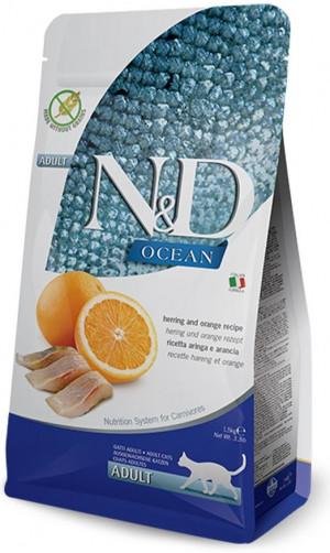 FARMINA N&D NATURAL & DELICIOUS Cat Grain Free Ocean Herring & Orange - sausā barība kaķiem 1,5kg