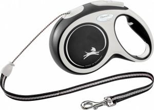 Flexi New Comfort S 8m (virve) melna / pelēka