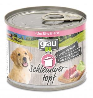 GRAU Schlemmertopf PUPPY/JUNIOR With Chicken, Beef & Millet - konservi suņiem 6 x 200g
