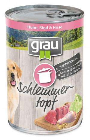 GRAU Schlemmertopf PUPPY/JUNIOR With Chicken, Beef & Millet - konservi suņiem 6 x 400g