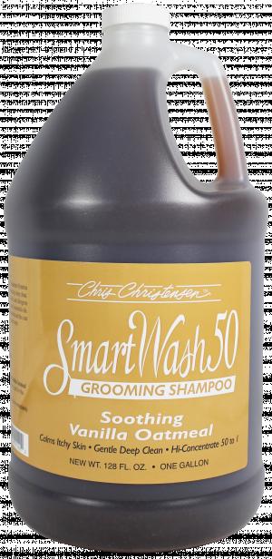 CHRIS CHRISTENSEN Smart Wash 50 Vanilla Oatmeal Grooming Shampoo - šampūns suņiem un kaķiem 3,78L