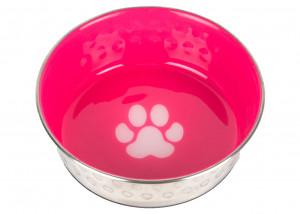 Show Tech Pet Bowl SS/Hot Pink with rubber Base and Pawprint - bļoda suņiem un kaķiem