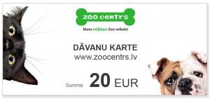 Dāvanu karte 20 EUR vērtībā pirkumiem e-veikalā www.zoocentrs.lv