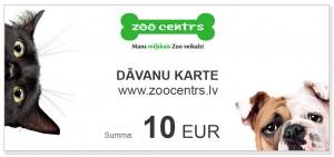 Dāvanu karte 10 EUR vērtībā pirkumiem e-veikalā www.zoocentrs.lv