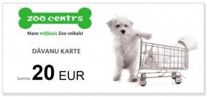 Dāvanu karte 20 EUR vērtībā pirkumiem Zoocentrs veikalos visā Latvijā