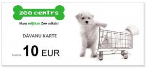 Dāvanu karte 10 EUR vērtībā pirkumiem Zoocentrs veikalos visā Latvijā