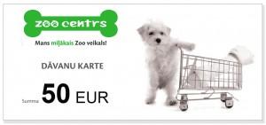 Dāvanu karte 50 EUR vērtībā pirkumiem Zoocentrs veikalos visā Latvijā