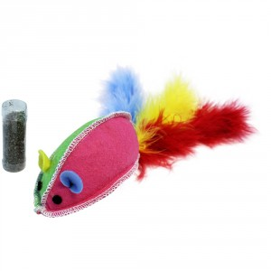 Happy Pet Rotaļlieta - pele ar spalvām + kaķumētra