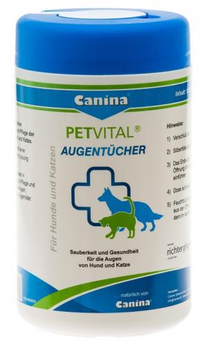 Canina Petvital Augentücher Mitrās salvetes acu tīrīšanai 120gab.