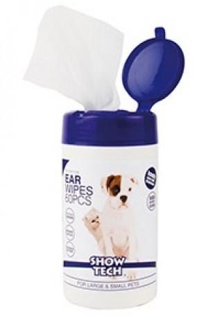 Show Tech Ear Wipes Mitrās salvetes ausu tīrīšanai dzīvniekiem 60 gab.