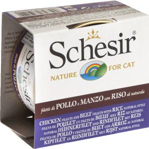 Schesir konservi kaķiem gabaliņi savā sulā  VISTAS FILEJA, LIELLOPA FILEJA, RĪSI 85g