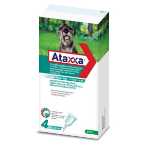 Ataxxa 1250 mg/250 mg pretparazitāri pielieni  (pipetes) suņiem 10-25 kg N4