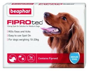 Beaphar FIPROtec® Spot-On 134mg šķīdums (pipete) pret blusām un ērcēm pilināšanai uz ādas vidējiem suņiem N1