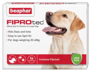 Beaphar FIPROtec® Spot-On 268mg šķīdums (pipete) pret blusām un ērcēm pilināšanai uz ādas lielajiem suņiem N1