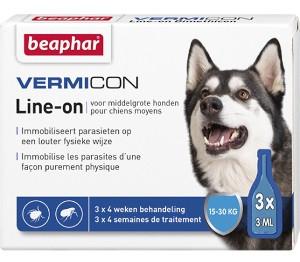 """Beaphar IMMO SHIELD LINE-ON DOG """"M""""  pilieni ar demetikonu pret parazītiem vidējiem suņiem 3gb x 3ml"""